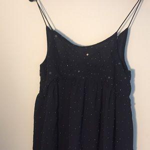 Mango hand embroidered navy dress, xs